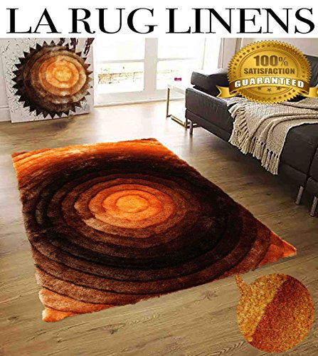 Tufted Aubusson Rug (Home Shimmer Shag Orange Rust Area Rug, Hand-Tufted, Hand Made ~8ft' x 10ft' ( SAD 281 Orange ))