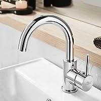 Auralum Waterkraan voor badkamer, 360° draaibare wastafelarmatuur hoge mengkraan voor wastafel