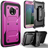 MOTO G5 Case,Moto E4 Case,KASEMI [Built in Screen Protector] Heavy Duty Dual Layer Protection Locking Belt Swivel Clip Holster with Kickstand-Hot Pink