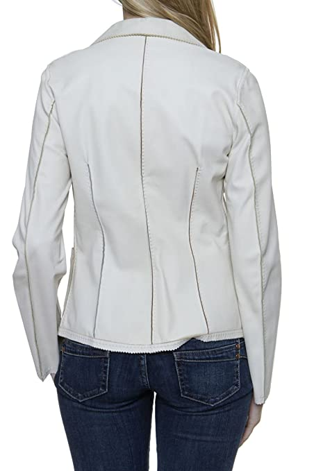 Paolo Sperotto Chaqueta de Cuero Blazer NIA para mujer, Color: Crema, Talla: 34: Amazon.es: Ropa y accesorios