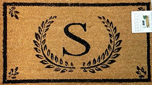 Evergreen Natural Coir Fiber Monogram Doormat S 16 x 28