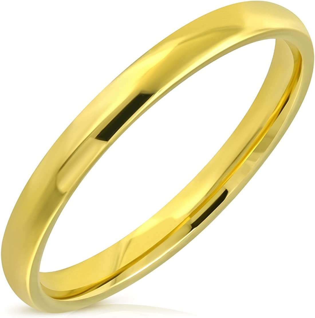 Stainless Steel Gold Color Plated Comfort Fit Half-Round Wedding Band Ring