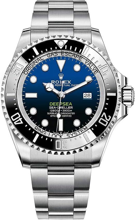 Amazon.com: Rolex Sea Dweller Deepsea Blue Dial Oyster Bracelet Stainless  Steel Mens 126660: Watches