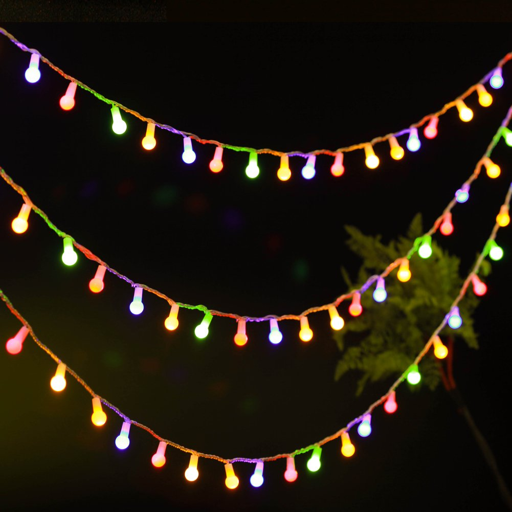 Uping Strisce di Luci LED Catena Luminosa Globo Luce Calda Colorata, 12 Metri 100 Singoli LED, per Festa Giardino Natale Halloween Matrimonio 31V-Ball Light