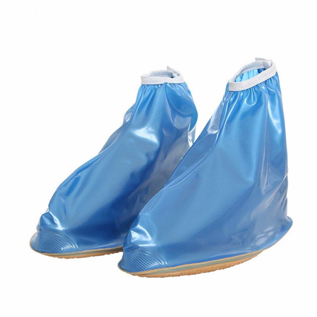 Reusable Rain Shoes Covers Waterproof Adjustabler Rain Boot Women Men Shoes Blue XL