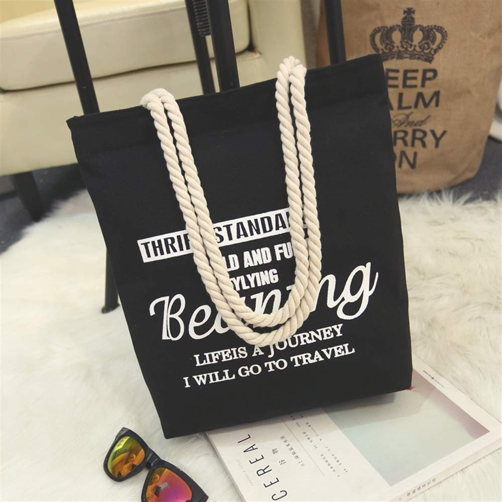 WHXYAA Beaning Printed Canvas Bag Shoulder Bag Tote Bag Ladies Large-Capacity Shopping Bag Black Simple Atmosphere
