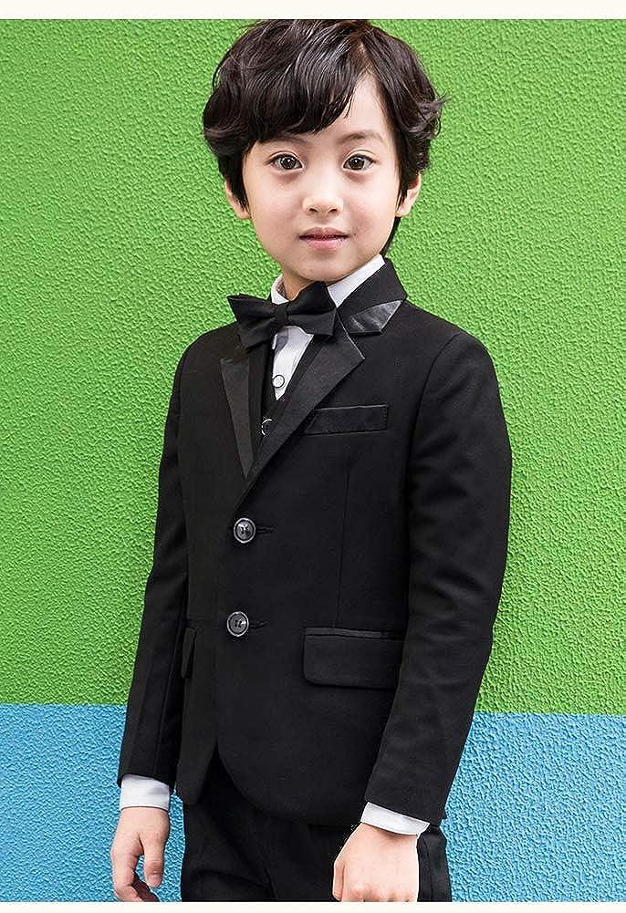 LOLANTA 5 Pcs Black Boys Suits Tuxedo Formal Blazer Page Boy Suit Slim fit for Wedding Party