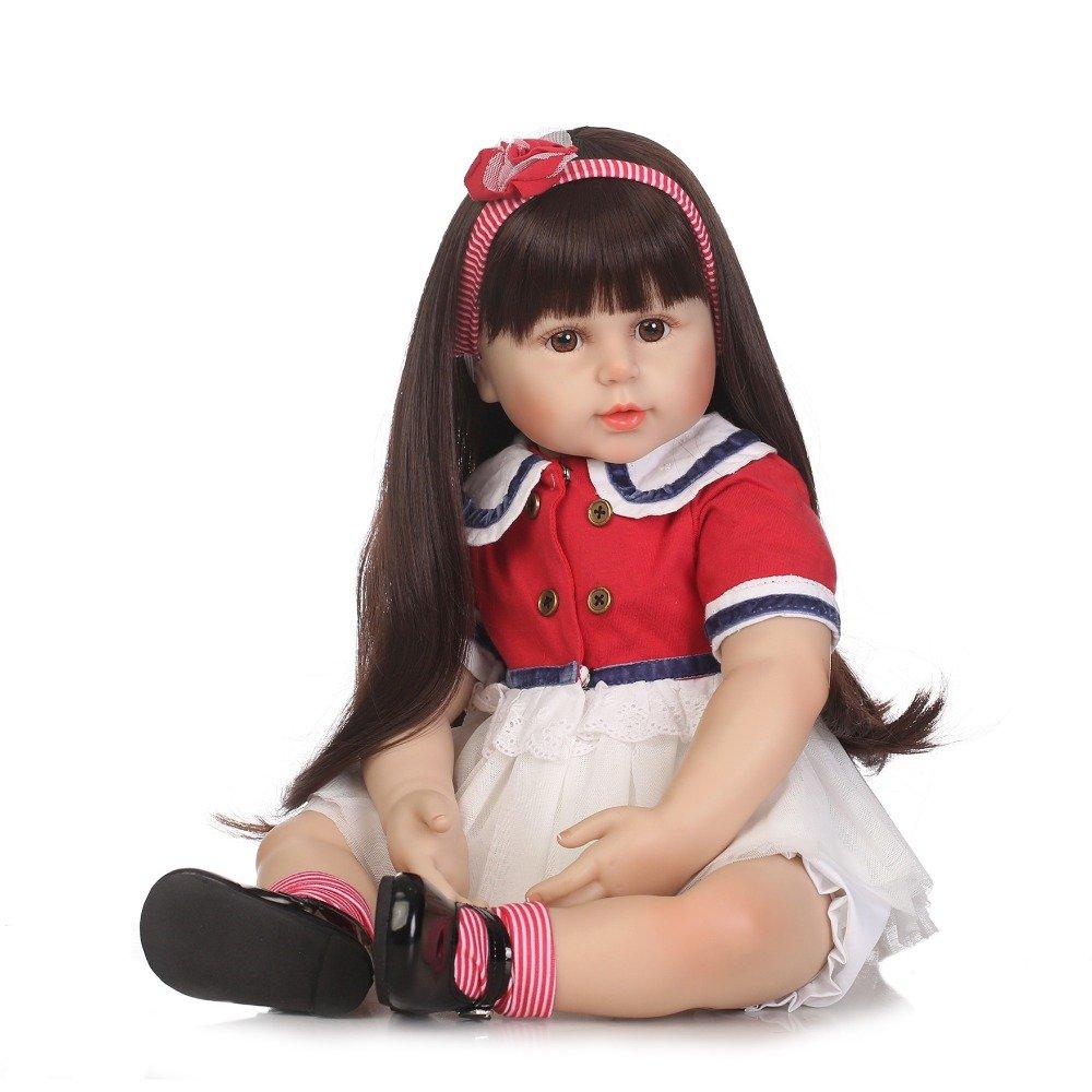 ピンキー22インチ55 cm人形ソフトSiliconeビニールRebornベビーガール幼児用ブラック長い髪Realistic Looking新しいBorn赤ちゃんクリスマスギフト   B07DL2N8Z5