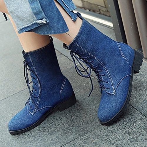 AIYOUMEI Damen Herbst Winter Denim Flach Stiefeletten mit Schnürung Bequem Modern Ankle Boots(Größe34-46) Dunkelblau