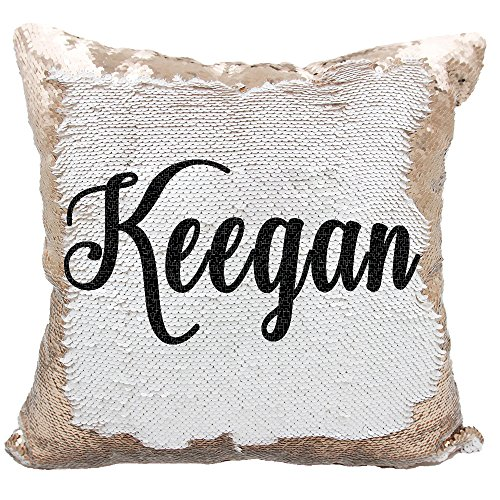 Personalized Mermaid Reversible Sequin, Custom Sequin Pillow (White/Rose -