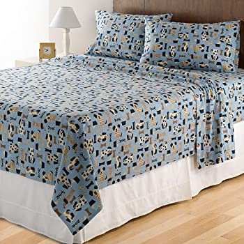 Flannel Sheets QUEEN 4 Piece Dog Print Heavyweight Warm Bedding Deep Pockets