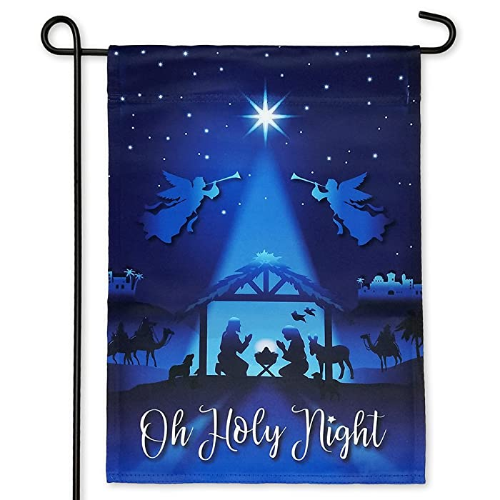 Nativity Garden Flag for Christmas – Double Sided Printing – 12.5 X 18 Inches – Christian Catholic Outdoor Religious Flags for House Or Yard - Joseph Mary and Jesus Christ in Manger Scene