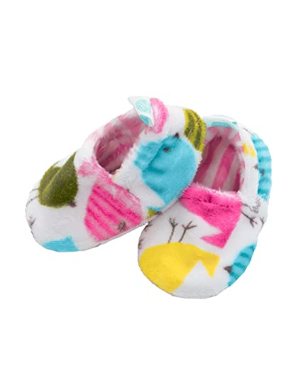 27fd2f4ca4830 Baby Laundry Plush and Soft Reversible Booties, Slippers/Shoes for Girls -  Baby Birds (3-6 Months)