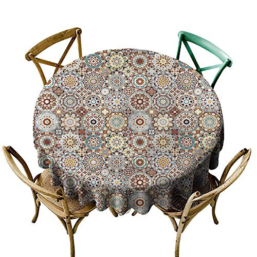 LsWOW 70 Inch Grid Round Table Cloth Patchwork Folkloric Tunisian Mosaic Great for Party & More (Rodeo Mosaic)