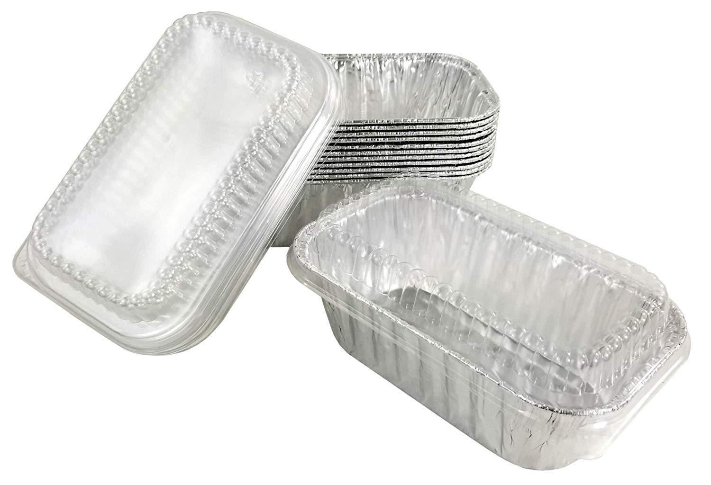 Handi-Foil 1 lb. Aluminum Foil Mini-Loaf/Bread Baking Pan w/Clear Low Dome Lid (Pack of 50 Sets)