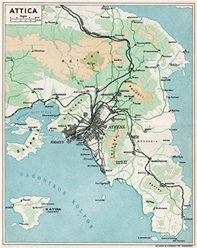 Attica Vintage Map Piraeus Aegina Salamis Greece 1962 Old