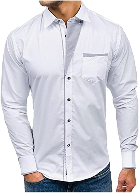 ღLILICATღ Hombre Camisa Manga Larga Slim Fit M-2XL Camiseta de Manga Larga con Panel Delgado para Hombre Camisa de Vestir con Corte Slim y Formal en otoño Casual Top Blusa de Hombre: