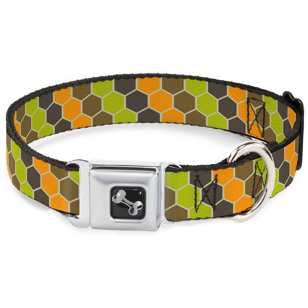 Buckle-Down Seatbelt Buckle Dog Collar Honeycomb Greens orange 1.5  Wide Fits 13-18  Neck Small
