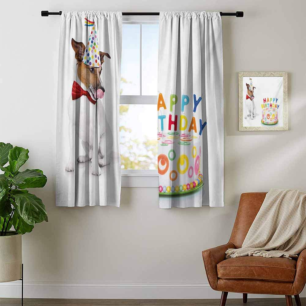 DESPKON-HOME Curtain for Kids Room, Kids Birthday Russel Dog Domestic Puppy Pet with Hat at a Party Celebration with Yummy Cake Decorative Darkening Curtains, Multicolor W120 x L108