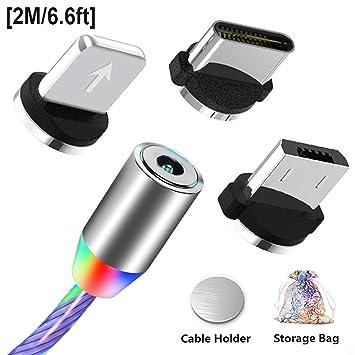 Kyerivs Cable de Carga USB C Magnético con Luz LED Que Fluye Visible, Cargador Cable USB Tipo C Encienda Los Cables de Carga Cargador Conectores 3 en ...