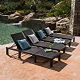 Great Deal Furniture Joyce Outdoor Multibrown Wicker Chaise Lounge Without Cushion (Set of 4)