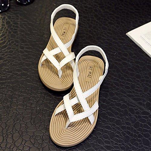Toe Minetom de Plage Romain Clip Femme tongs Blanc Flats Sandals Gladiator Chaussures Womens Sandales zzZrqC