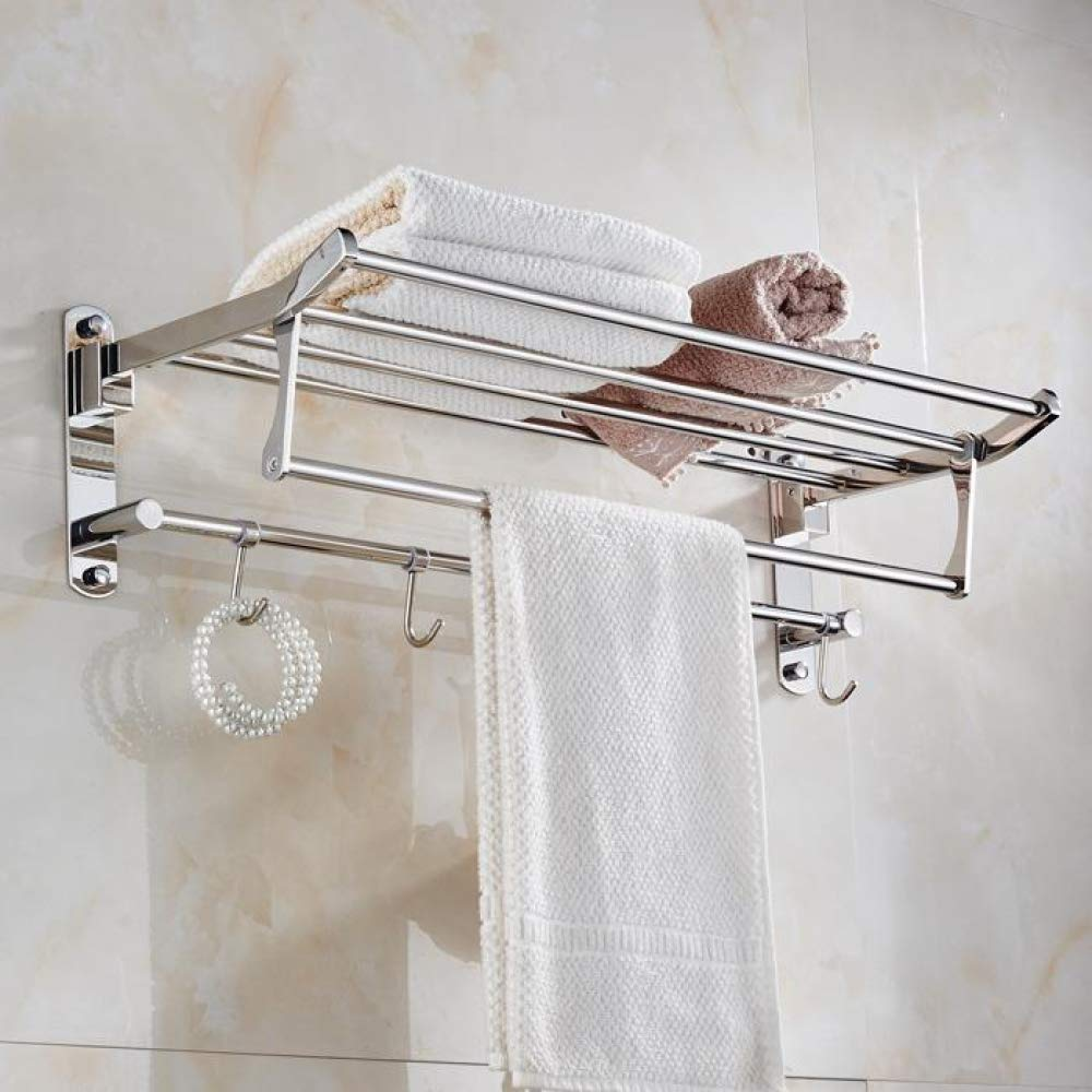 BUANSTLT Estante Moderno Moderno Moderno de Acero Inoxidable 304 toallero de baño pulidor de Plata con Ganchos para Montaje en Pared Accesorios de baño Set-B 35be57