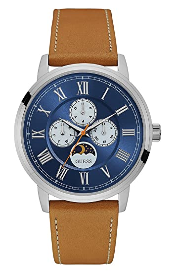 Guess Reloj Multiesfera para Hombre de Cuarzo con Correa en Cuero W0870G4: Amazon.es: Relojes