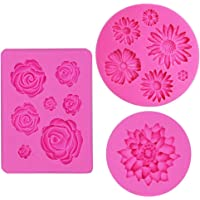 IHUIXINHE Fondant Candy Silicone Moulds, 3PCS Flower Daisy Roses Lotus Mould, for Sugarcraft Cake Decoration, Cupcake Topper, Polymer Clay, Soap Wax Making