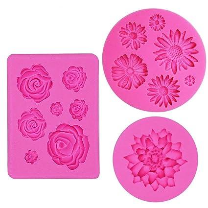 Ihuixinhe Fondant Candy Silicone Molds 3pcs Flower Daisy Roses