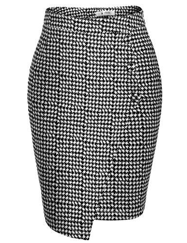 High Waist Asymmetric Hem Package Hip OL Pencil Skirt (Beaded Pencil)