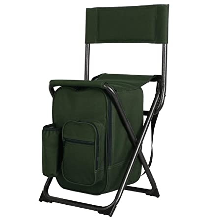 PORTAL Lightweight Backrest Stool Compact Folding Chair Portable Storage Seat with Cooler Bag and Shoulder Straps for Fishing, Camping, Hiking, Supports 250 lbs