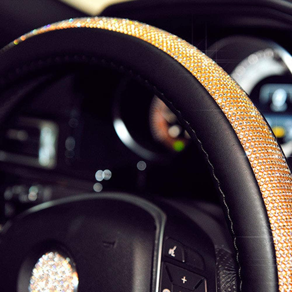 LEIWOOR Beautiful Crown Diamond Rhinestone Shiny Bling Leather Car Steering Wheel Covers 38cm Female Auto Accessories for Women Girls,Extra Large,PU Leather with Bling Bling Rhinestones Black/&Gold