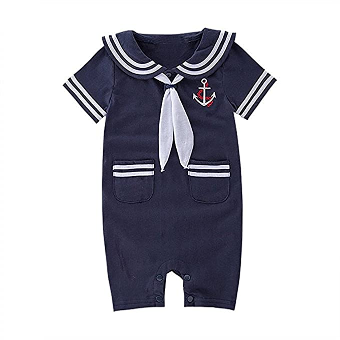 Baby Toddler Boys Anchor Sailor Stripe Onesie Outfit Romper Jumpsuit Overalls 6-12 Months