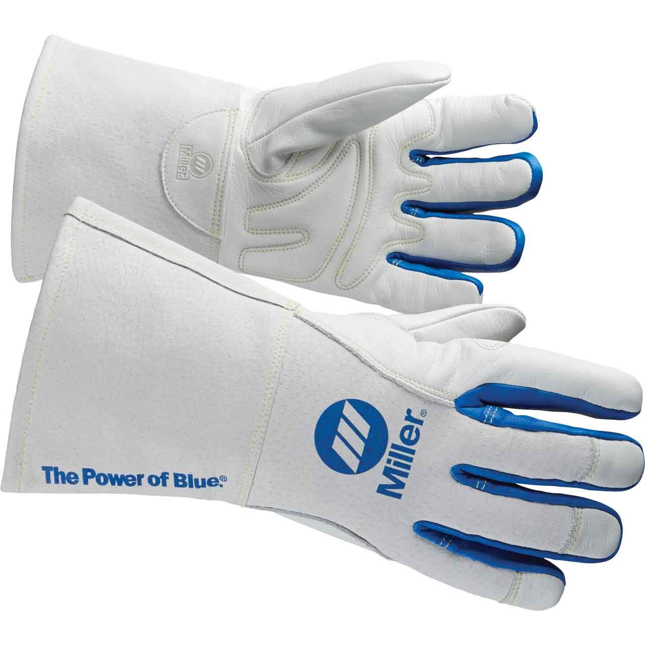 Miller ELECTRIC263332 Welding Gloves, 3-D, M, 12In, White/Blue, PR by Miller Electric