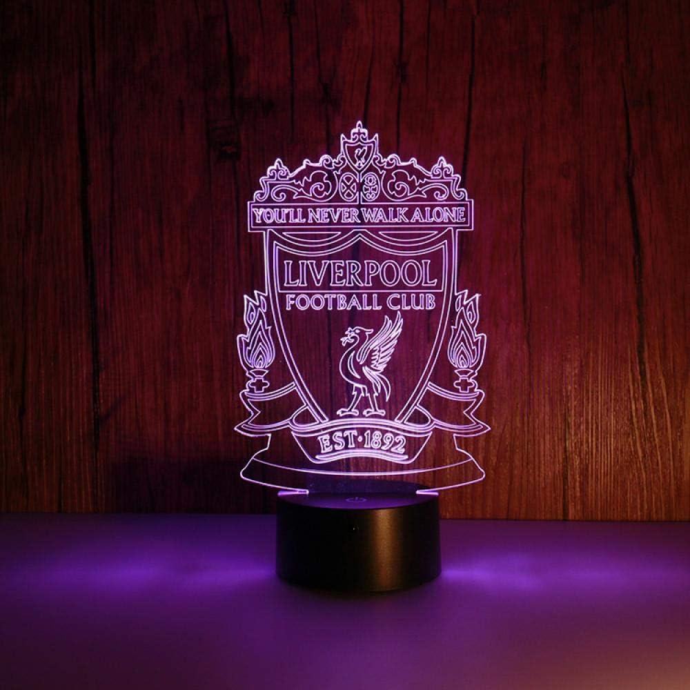 Luz nocturna 3D Liverpool Team Standard colorido USB alimentado regalo LED