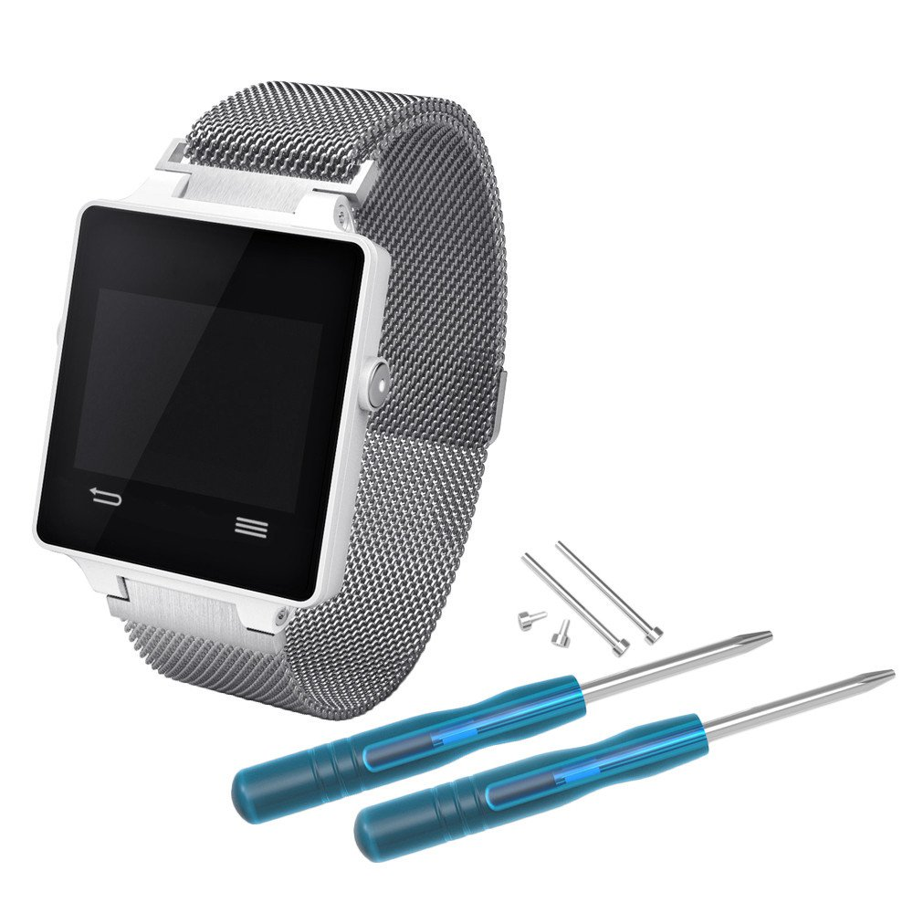 Bracelet Band For Garmin Vivoactive, Choosebuy Fashion Milanese Stainless Steel Mesh Replacement Wristband Women Men Bangles Strap + 2pcs Tools and 2pcs Screws (Silver)
