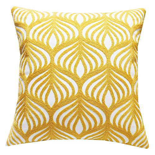 SLOW COW Cotton Embroidery Decorative Throw Pillow Cover Case for Couch Sofa Home Decor Modern Geometric Accent Pillow Cushion Cover 18 x 18 Inches Yellow, 1PC ()