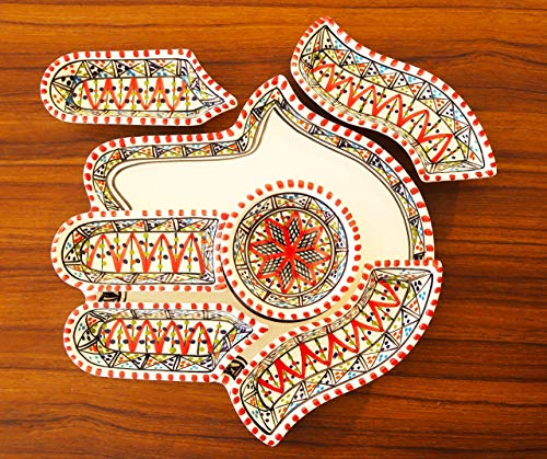 Red Hamsa Palm, Hand of Fatima Dippers, Chip and dip 7 Pieces of Ceramic Dipping and Serving Plates HandMade, Hand-painted, Dish, Plate, wedding, Birthday, Housewarming Gifts, Labor Day
