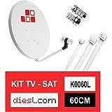 Diesl.com - Kit Parabólica 60cm + LNB + Conectores + 10x Bridas