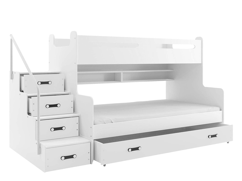 Etagenbett Maxy III Hochbett mit Matratzen Bettschublade Treppe und Geländer, 2 Lattenroste, Farbauswahl, Bett für Kinderzimmer (Weißszlig; Graphit) Weiß