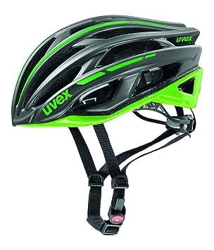 Uvex Race 5 Casco de Ciclismo, Unisex Adulto, Negro/Verde, 52-