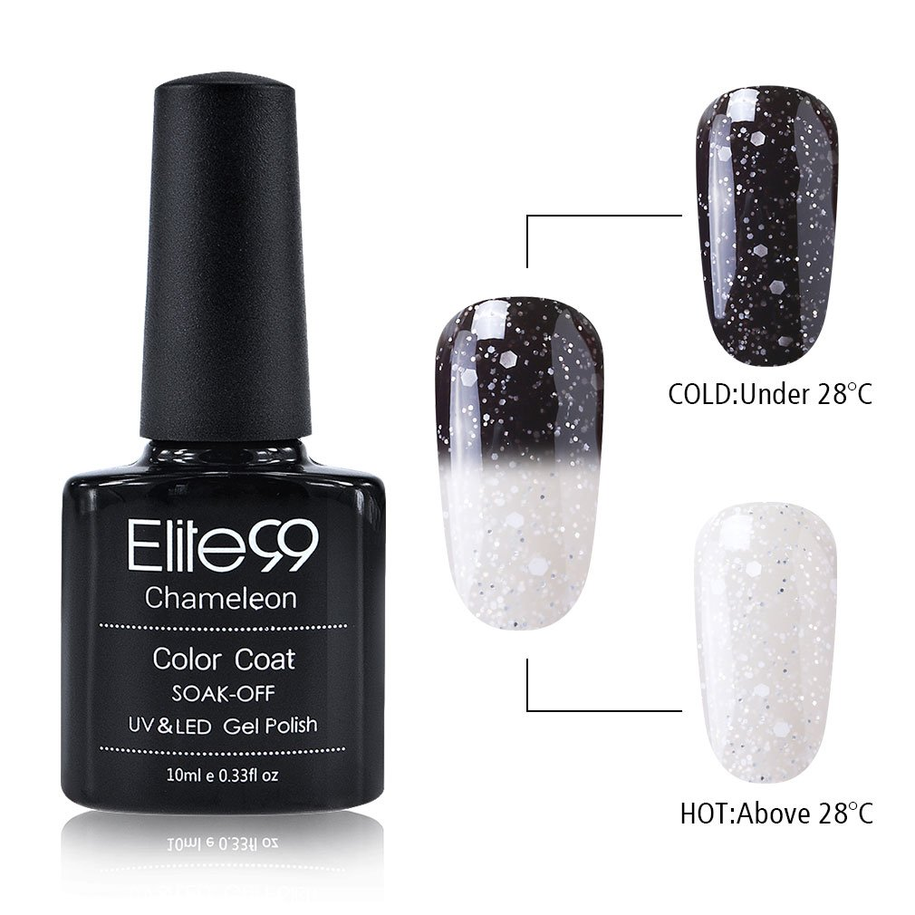 Elite99 Gel Nail Polish, Snowy Thermal Temperature Color Changing Nail Polish, UV LED Soak Off Chameleon Nail Art Gel Polish 10ML 9725