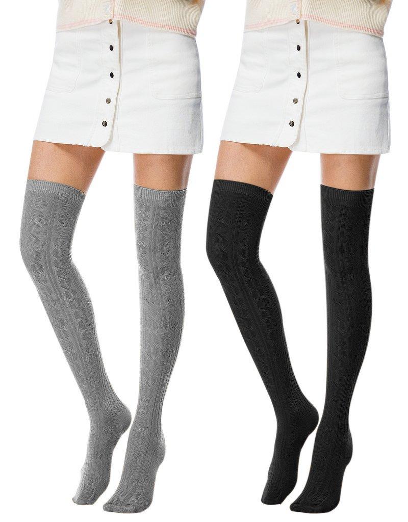 Fashion Extra Long Cotton Thigh High Socks light 01