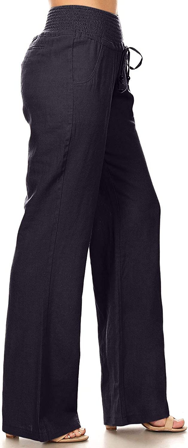 Via Jay Womens Casual Relaxed-Fit Wide Leg High Waist Pants April Apparel Inc