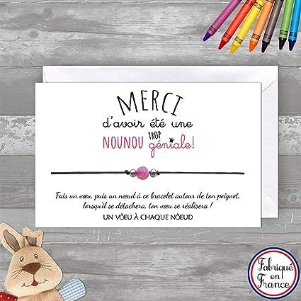 Carte De Voeux Merci Nounou Bracelet Porte Bonheur Pour