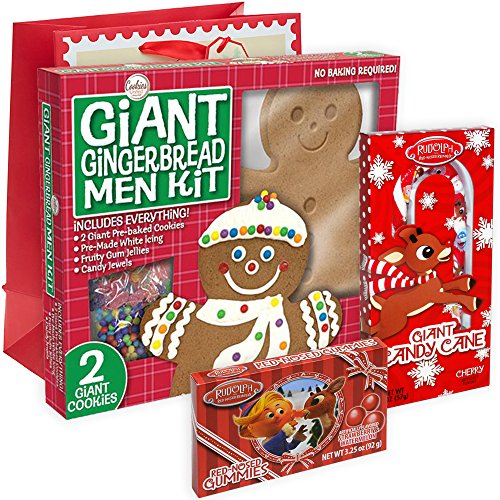 Giant Gingerbread Men Kit Pre-baked Cookies Everything included + Rudolph Red Nosed Reindeer Gummies Apple Strawberry & Blue Raspberry + Giant Candy Cane Cherry + Christmas Holiday Themed Gift (Gingerbread Man Candy Cane)