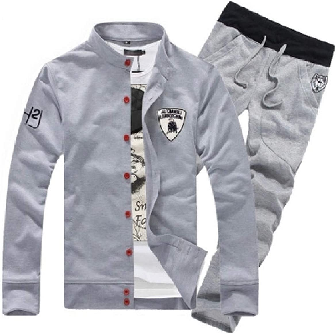 Abetteric Men Hooded Workout Juniors Casual Oversize Sweatsuit Pants Set