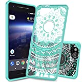 Google Pixel 2 Case ,New Pixel 2 Case Clear With HD Screen Protector ,AnoKe [Scratch Resistant] Mandala Flower Cute Women Girls Ultra Thin Slim TPU Phone Cover Case For Google Pixel 2 TM CH Mint