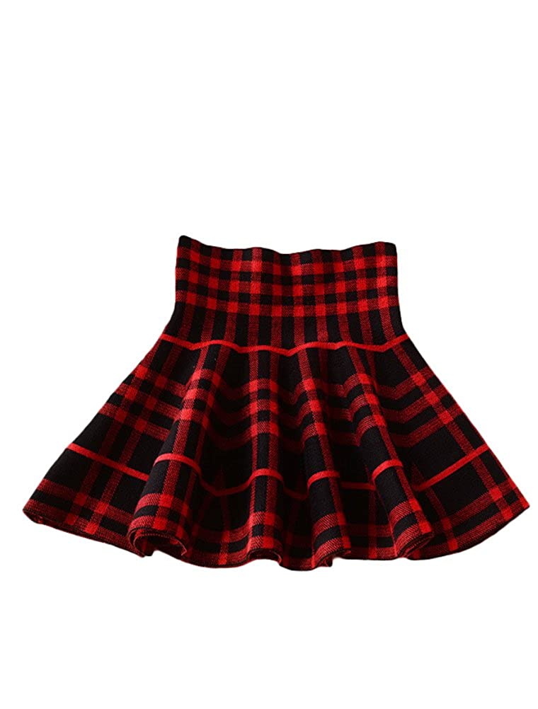 Mallimoda Girls High Waist Knitted Flared Pleated Skater Short Skirt